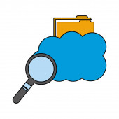 cloud computing with folder and magnifying glass