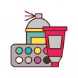 Graphic design spary color tool tube and palette v...
