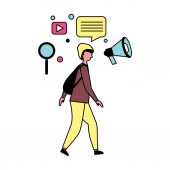 man using mobile and social media icons