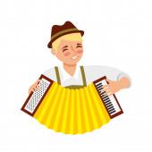 bavarian man with accordion portrait