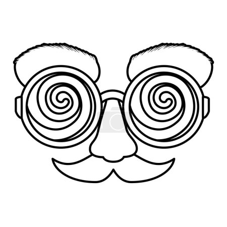 Illustration for Fools day mask glasses and mustache vector illustration design - Royalty Free Image