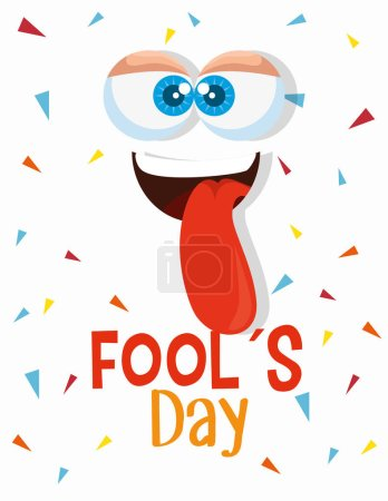 Illustration for Funny face with tongue to fools day vector illustration - Royalty Free Image