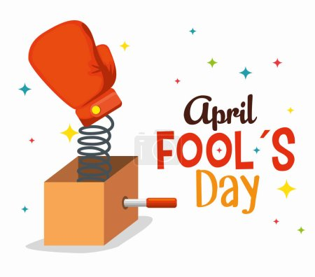 Illustration for Box with boxing glove to fools day vector illustration - Royalty Free Image