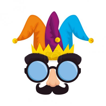 Illustration for Fools day mask glasses and mustache with joker hat vector illustration design - Royalty Free Image