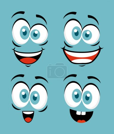 Illustration for Set funny faces to fools day celebration - Royalty Free Image