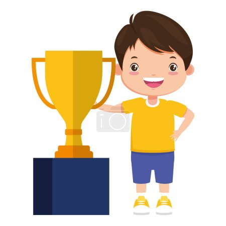 Photo for Happy boy with trophy award sport vector illustration - Royalty Free Image
