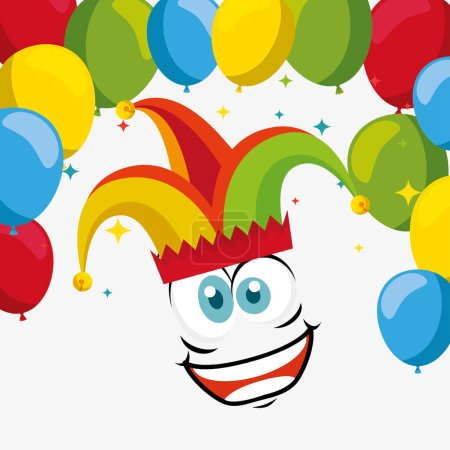 Illustration for Funny face wearing joker hat with balloons vector illustration - Royalty Free Image
