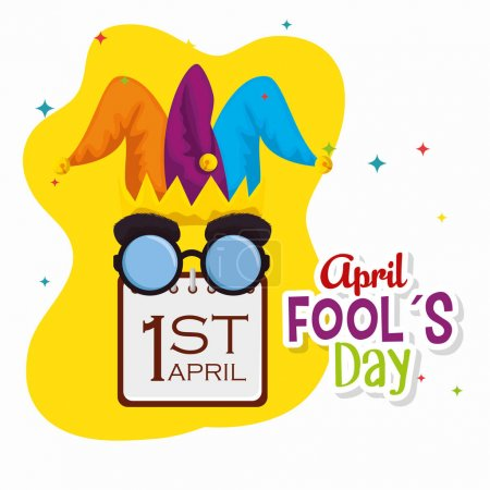 Illustration for Joker hat with funny glasses and calendar to fools day vector illustration - Royalty Free Image
