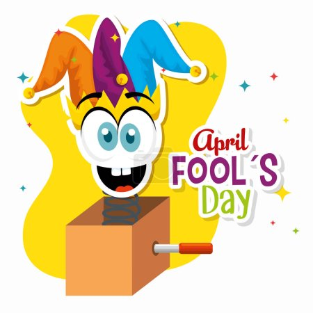 Illustration for Box with funny face and joker hat to fools day vector illustration - Royalty Free Image