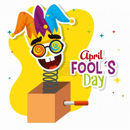 Illustration for Funny mask with joker hat to fools day vector illustration - Royalty Free Image