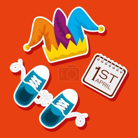 Illustration for Fanny joker hat and sneaker to fools day vector illustration - Royalty Free Image