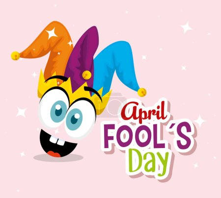 Illustration for Funny face with joker hat to fools day vector illustration - Royalty Free Image