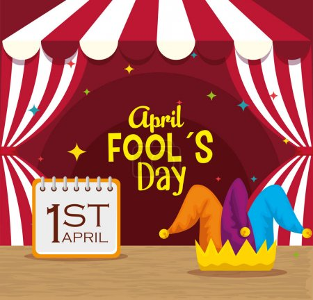Illustration for Circus with calendar and joker hat to fools day vector illustration - Royalty Free Image