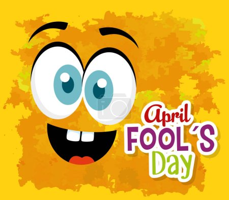 Illustration for Funny face expression to fools day vector illustration - Royalty Free Image