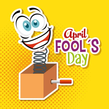 Illustration for Box with funny face to fools day vector illustration - Royalty Free Image