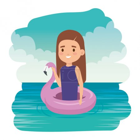 Photo for Cute little girl lady with flemish float in the sea vector illustration design - Royalty Free Image