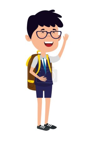 Photo for Happy student boy with schoolbag vector illustration design - Royalty Free Image