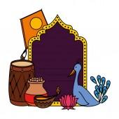 india celebration invitation card with set icons