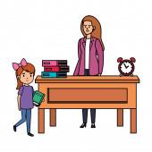 happy student girl with female teacher in desk