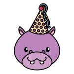 Birthday celebration cute hippo party hat vector i...