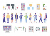 young people and office equipment icons
