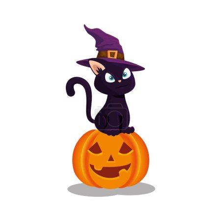 Cat with hat witch in pumpkin halloween vector ill...