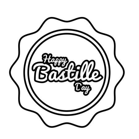 Illustration pour Lettrage du jour de la bastille en dessin vectoriel d'illustration de style ligne de sceau - image libre de droit