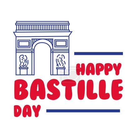Illustration pour Lettrage jour bastille avec dessin à la main Arc de Triomphe dessin vectoriel illustration design - image libre de droit