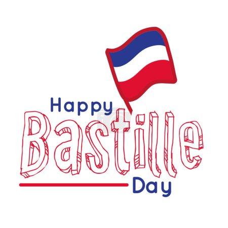 Illustration pour Lettrage jour bastille avec drapeau dessin à la main dessin vectoriel illustration design - image libre de droit