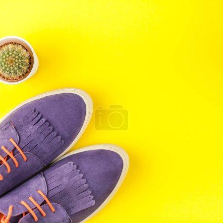 Photo pour Pose plate de chaussures en daim tendance, et cactus sur fond de papier jaune gras avec espace de copie. Vue aérienne de la tenue décontractée femme. Hipster carré look vue de dessus - image libre de droit