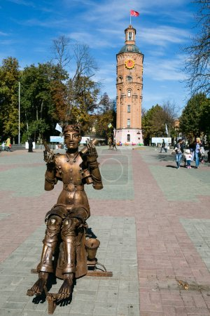 Vinnytsia, Ukraine - OCTOBER 03 2015: Famous touristic place - Old fire tower with clock, Vinnytsia, Ukraine
