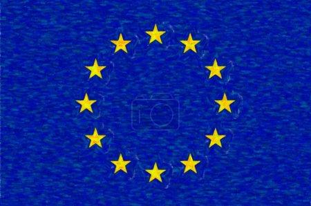 Photo pour Drapeau aquarelle de l'Union européenne, texture du papier. Symbole du Jour de l'Indépendance, jeu de football souvenir, langue des boutons, icône . - image libre de droit