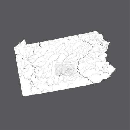 U.S. states - map of Pennsylvania. Hand made. Rivers and lakes are shown. Please look at my other images of cartographic series - they are all very detailed and carefully drawn by hand WITH RIVERS AND LAKES.