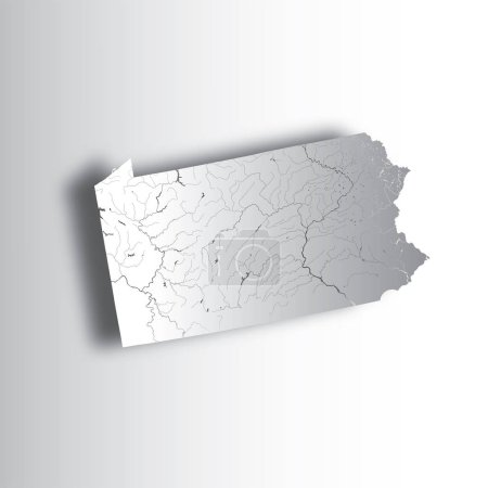 U.S. states - map of Pennsylvania with paper cut effect. Hand made. Rivers and lakes are shown. Please look at my other images of cartographic series - they are all very detailed and carefully drawn by hand WITH RIVERS AND LAKES.