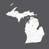 US states - map of Michigan Hand made Rivers and lakes are shown Please look at my other images of cartographic series - they are all very detailed and carefully drawn by hand WITH RIVERS AND LAKES
