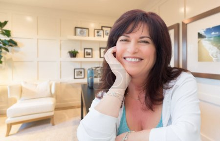 Attractive Middle Aged Woman Portrait Inside Her Home Office