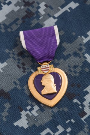 Purple Heart War Medal on Navy Camouflage Material