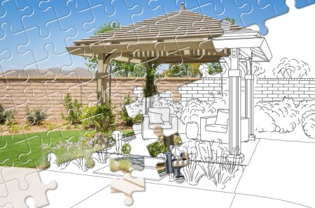 Photo for Puzzle Pieces Fitting Together Revealing Finished Pergola Gazebo Build Over Drawing. - Royalty Free Image