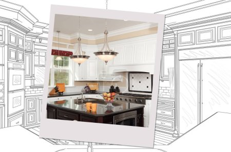 Photo for Custom Kitchen Drawing With Photo Picture Frame Containing Finished Construction. - Royalty Free Image