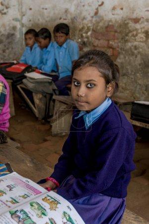Photo for RAXAUL, INDIA - circa November, 2013 Unidentified Indian children in a local school, circa November, 2013 in Raxaul, Bihar, India. - Royalty Free Image