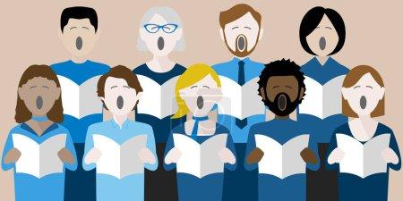 Illustration pour Groupe diversifié d'adultes chantant dans une chorale multiculturelle - image libre de droit