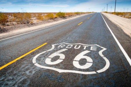 Route 66 road sign near Daggett, California, USA