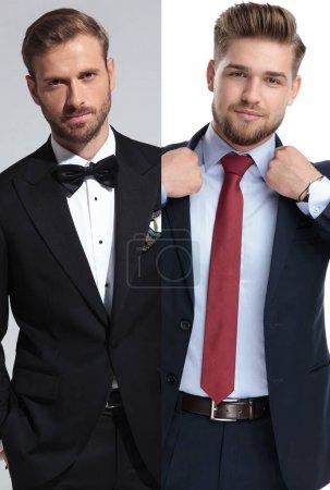 Photo pour Collage image d'un marié et un homme d'affaires debout tout en beaing habillé élégant - image libre de droit