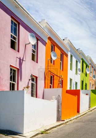 Colorful house facades in historic Bo Kaap area of Cape Town, South Africa