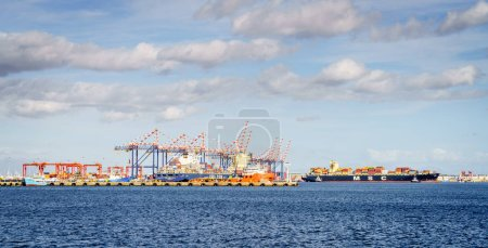 Commercial sea port with loading docks and equipment