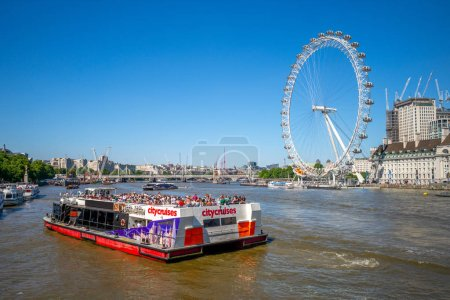 London, UK - June 29, 2018: riverbank of thames river in london with the ferris wheel, London Eye