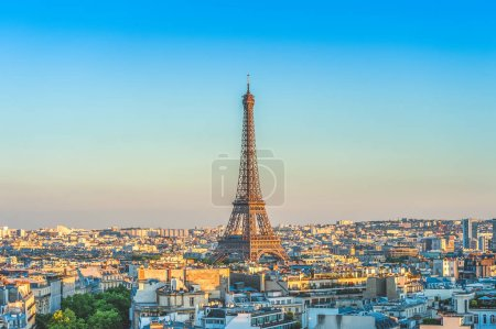 Photo for Skyline of paris with eiffel tower at dusk - Royalty Free Image