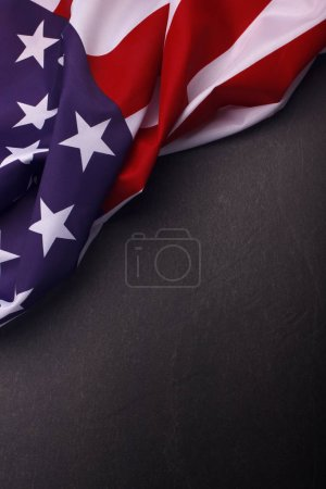 American flag on dark background. Usa Memorial Day
