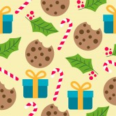 Christmas seamless pattern with presents candy cans and mistletoe  for Christmas background  wrapping paper print Vector