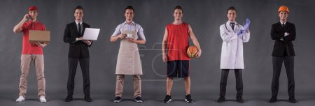 Photo for Six full-length images of handsome young man as delivery worker, businessman, barista, basketball player, doctor and architect, all looking at camera and smiling, on gray background - Royalty Free Image